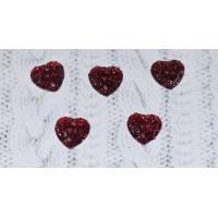 Стразы пришивные Сердце блестящее 12х12 мм, красные