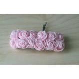 Розочки из фоамирана 20 мм, на проволоке, цвет-светло-розовый