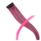 Волосы-тресс на клипсе прямые длина 46 см, ширина клипсы 3,4 см, ярко-розовый двухцветный