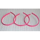 Ободок-основа (пластик+ткань), 9 мм, цвет - ярко-розовый
