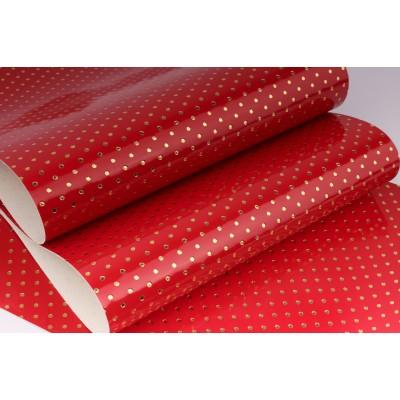 Декоративный материал кожзам Точки красный