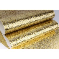 Декоративный материал кожзам с крупными блестками золото