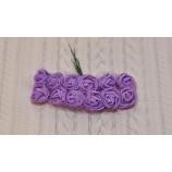 Розочки из фоамирана 20 мм с фатином, на проволоке, цвет-фиолетовый