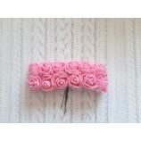 Розочки из фоамирана 20 мм с фатином на проволоке розовый