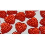 Стразы пришивные в форме сердца 12х12 мм, красные